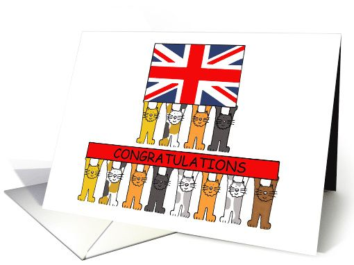 UK Citizenship Congratulations with Cats and Union Jack Flag card
