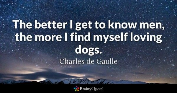 The better I to know men the more I find myself loving dogs