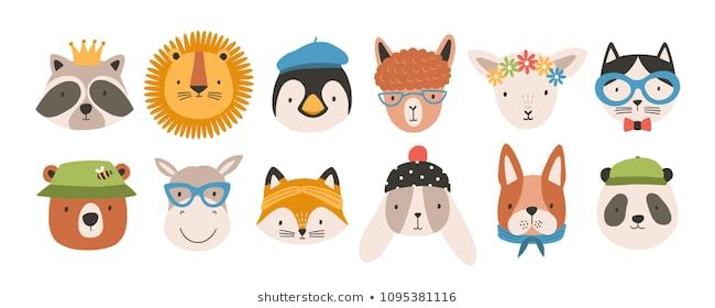 Collection of cute funny animal faces or heads wearing glasses hats headbands and wreaths