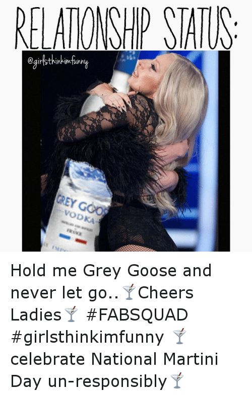 Funny Grey and Celebrated RELATONSHP STATUS OD Hold me Grey Goose and never