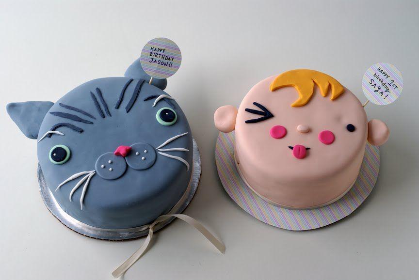 Double Birthday Cuteness – Cat Cake Baby Face Cake