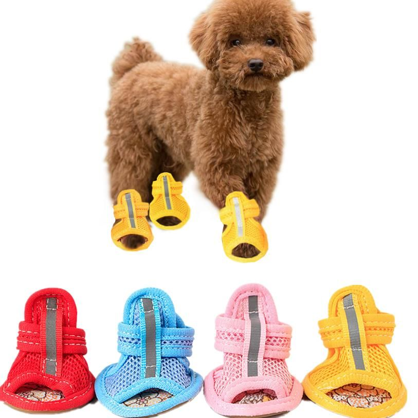 2019 5 Sizes Sport Shoes For Dogs Summer Dog Boots Mesh Sandals Dog Shoes Indoor Anti Slip Sneakers Pet Supplies Wholesale Pet Accessory From Chopin1220