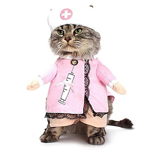 Generic Home Funny Pet Uniform Cats Dogs Clothes Nurse Cosplay Perform Costume Dress pink