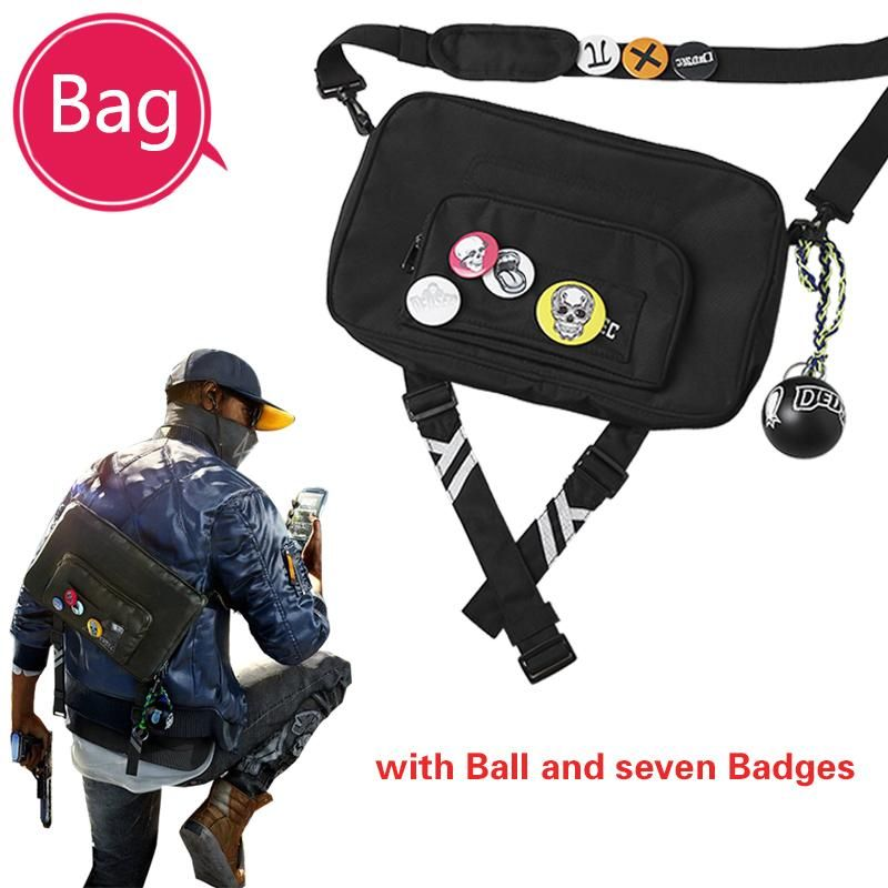 Watch Dogs 2 Costume A Bag Marcus Holloway Cosplay Accessories Bags A Bag Mark Game For Halloween Party Outfit Free Badge Baby Halloween Costumes Funny