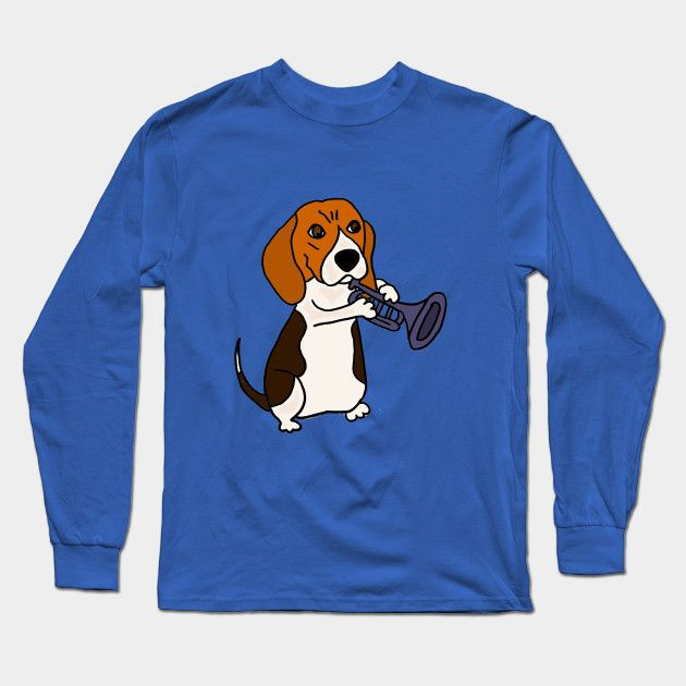 Funny Funky Beagle Dog Playing Trumpet