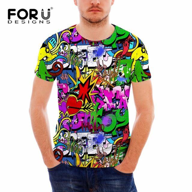 FORUDESIGNS Wholesale Interesting T shirt Free Style Design Elastic Colorful Graffiti Shirts Man Cool Tee Shirt Toops S XXL