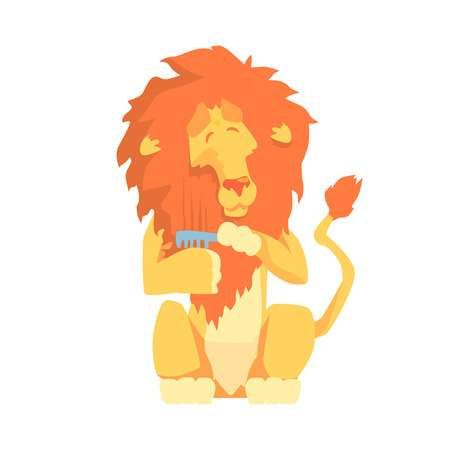 Cute cartoon lion bing its mane colorful character animal grooming vector Illustration
