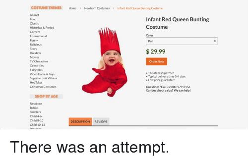 Christmas Food and Funny COSTUME THEMES Home Newborn CostumesInfant Red Queen Bunting Costume