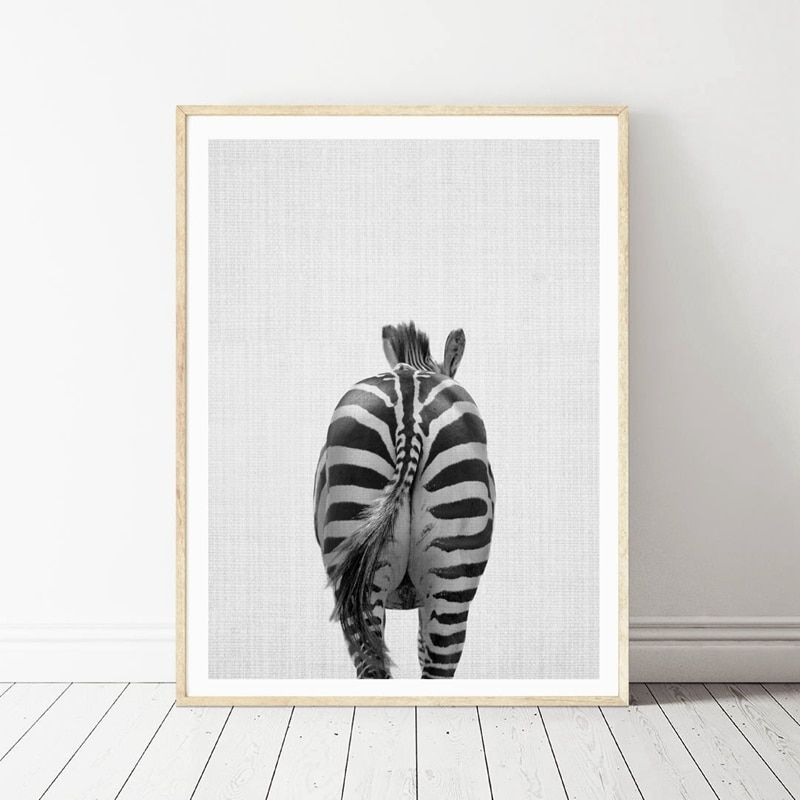 Animal Elephant Butt Canvas Print Modern Decor Wall Picture Zebra Canvas Painting Prints Bathroom Wall Art Funny Decor in Painting & Calligraphy from Home