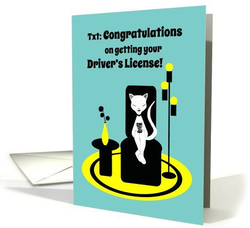 Congratulations Driver s License Funny Stylistic Texting Cat card