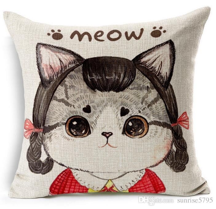 cute cat cushion cover kawaii kittens modern throw pillow case for sofa couch square rectangle almofada