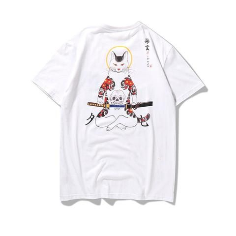Streetwear Japan Style Ukiyo E Funny Samurai Cat TShirts