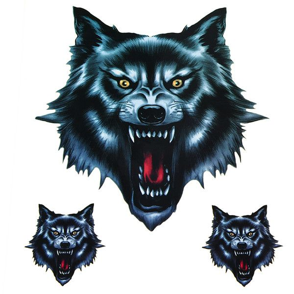 funny motorcycle decals Promo Codes Vinyl Wolf Head Decals Skull Head Fire Flame Funny Self