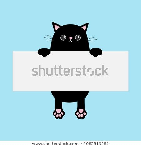 Black funny cat hanging on paper board template Kitten body with paw print Cute