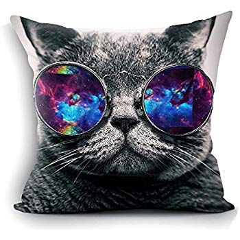 "oFloral Galaxy Hipster Cat Theme Throw Pillow Cover Funny Cat Wear Color Sunglasses Rectangle Pillow Case Cushion Cover Standard Size 18""X18"" Two Sides"