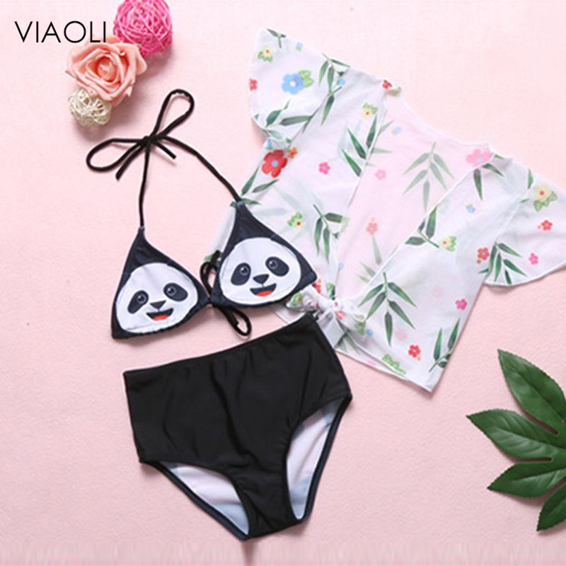 Super cute panda print children s bikini girl swimsuit cute baby girl child swimwear summer new style