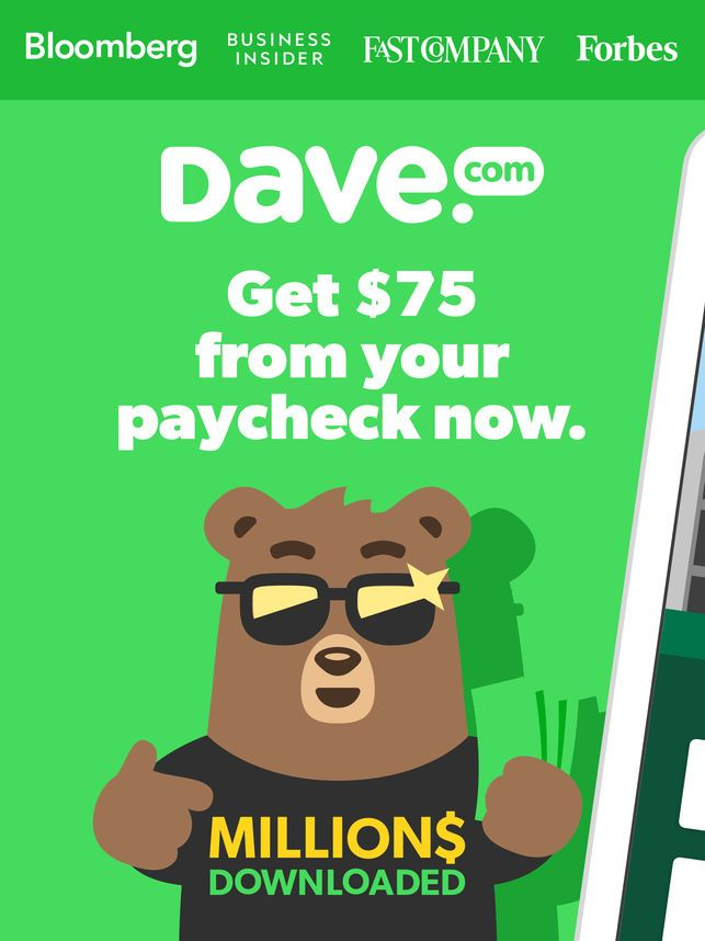 Dave $75 Before You Get Paid on the App Store