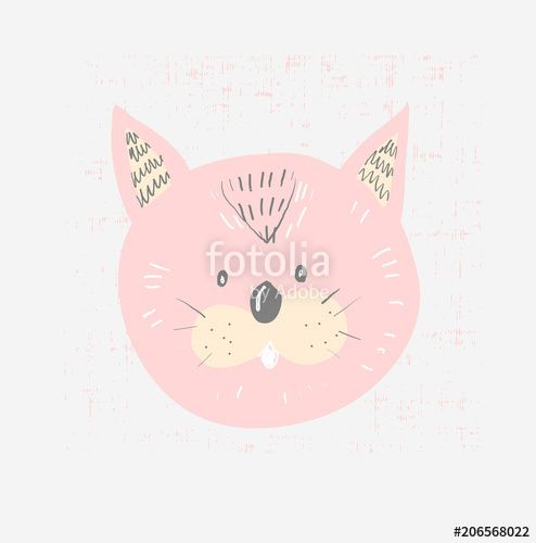 Hand drawn vector illustration of a cute funny cat face with lettering quote Meow Isolated objects Scandinavian style flat design Concept for children