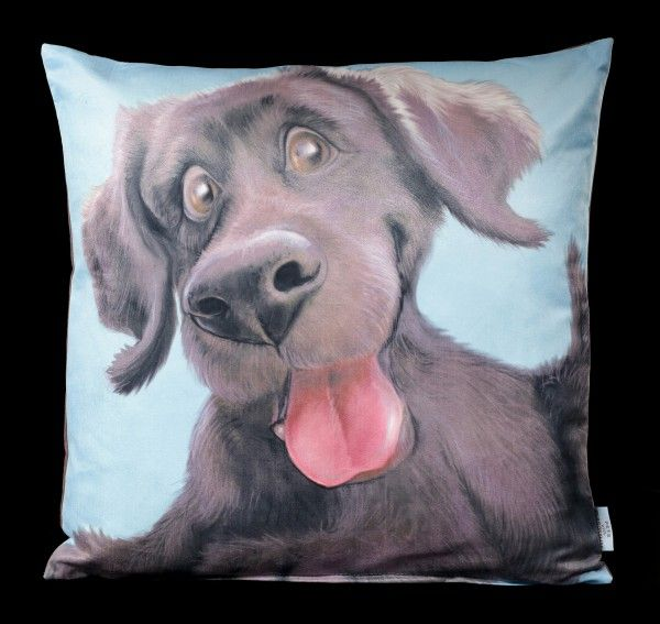 Cushion with Dog Black Labrador