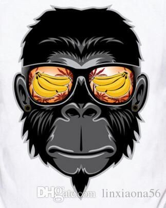 2018 Cool Men Funny Domesticated Monkey Design T shirt Novelty Tops customize Printed Short Sleeve Tees