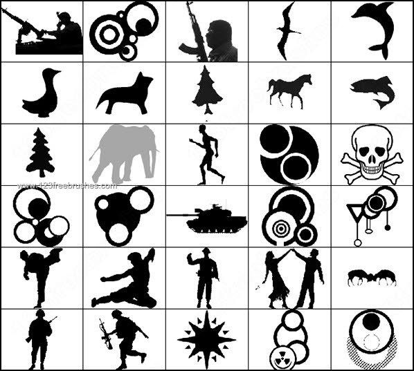 People – Animals – Shapes Silhouettes shop Brushes shop Free Brushes