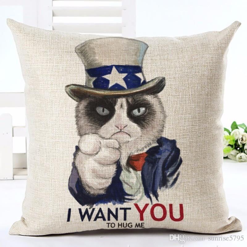 cute pet cat cushion cover fun kittens funda cojin 45cm sofa chair throw pillow case decorative