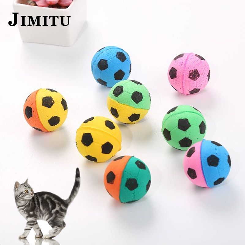 Dropwow 5pcs set Safe EVA Soft Balls For Cat Kitten Toys Colorful Football Shape Interactive Scratching Toy 2018 Hot Sale Funny Cats Toy