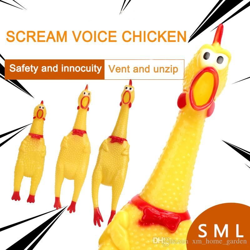 2018 Screaming Chicken Squeeze Sound Toy Pets Toy Product Dog Toys Shrilling De pression Tool Funny Gad s 3 Size From Xm home garden $0 81