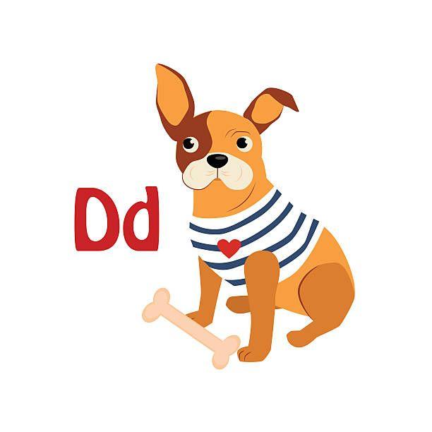 Dog Funny Alphabet Animal Vector Illustration vector art illustration