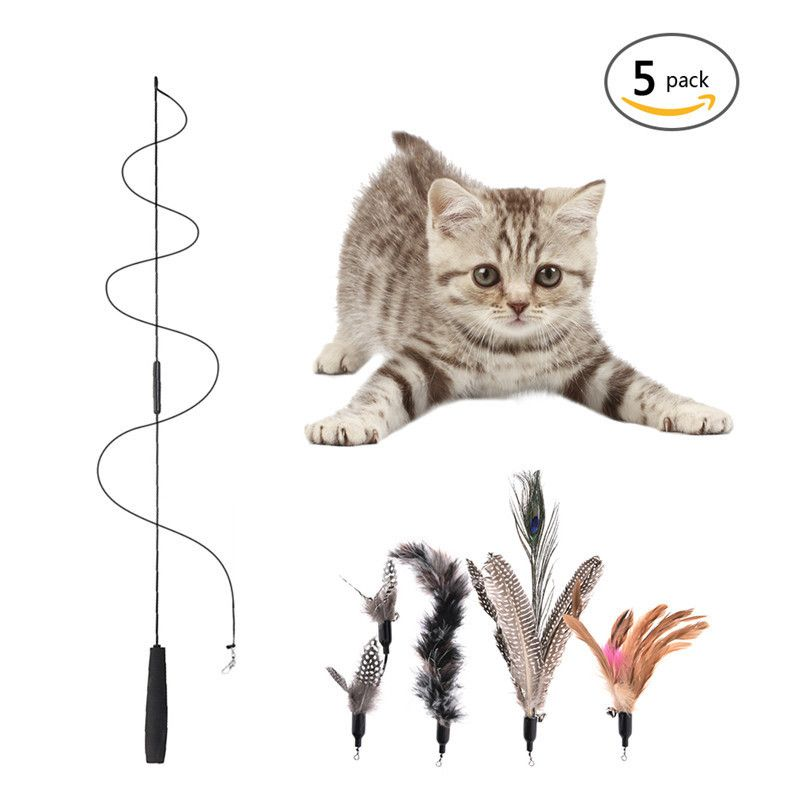 Multi Feather Cat Teaser Cat Toy Pet ToyWith 5 Replacement Heads Funny Cat Feather Stick With A Bell Cats Toy Flying Training – Pets Outlet Store