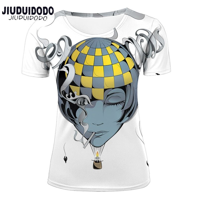Womens Fashion t shirts Funny Animal Rabbit Cat hot air balloon Tattoo Girls Printing 3D Novelty Short Sleeve Tee Summer tops in T Shirts from Women s