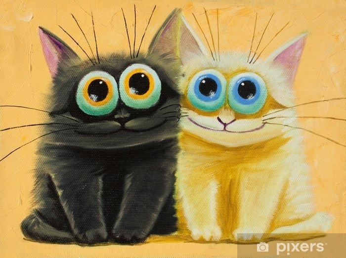 an original painting on canvas of white and black funny cats with big eyes joy