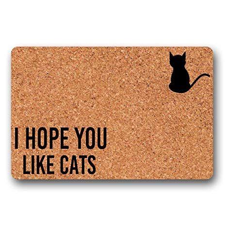 BrowneOLp I Hope You Like Cats Wel e mat Door mat Funny Doormat