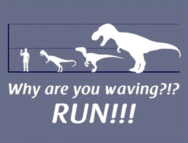 how big a dinosaur is it s standard practice to pose it next to a standing and sometimes waving human Now that you ve laughed at this meme