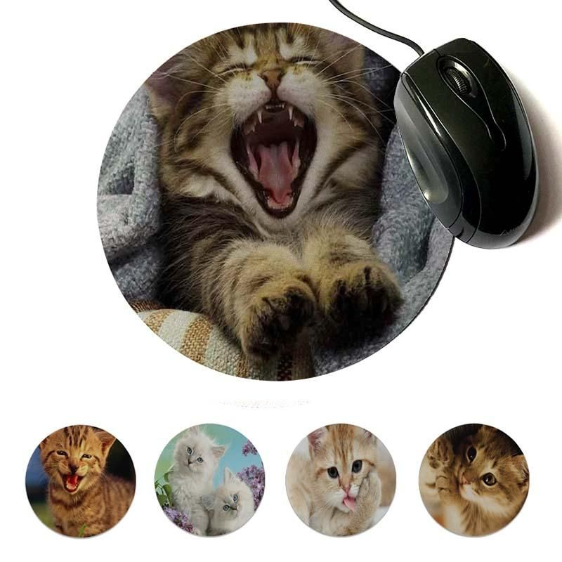 MaiYaCa Vintage Cool Funny Multi Gesture Action Cat Gamer Speed Mice Retail Small Rubber Round Mouse Pad 22x22cm 20x20cm Keyboard Gel Wrist Rest Keyboard