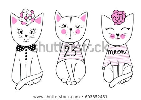Stylish kitten set Trendy illustration in sketch style t shirt print cards poster Doodle Kitty Kids animals Funny character Vector