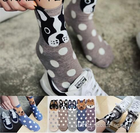 2018 Spring And Summer Womens Socks Small Ear Cartoon Animal Series Cute Dog Harajuku Style Meias Funny Socks Gifts Gold Toe Socks Cool Sock From Lady