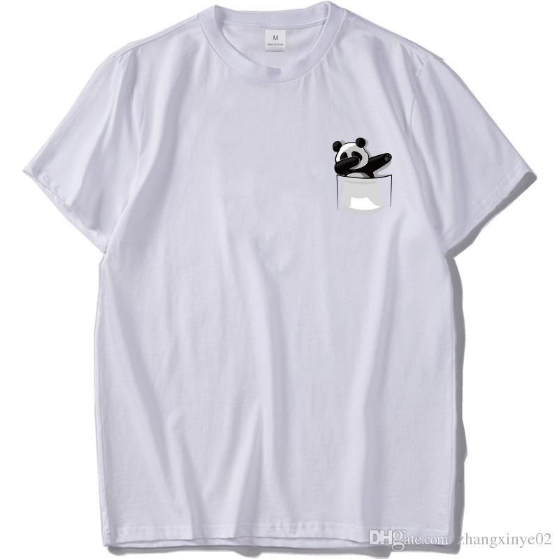 Pocket Panda T Shirt Men Funny Animal Print T Shirt Dog Cotton Short Sleeve Novelty Humor Summer Tops Tee Ufo Alien Tees Shirts T Shirt Site From
