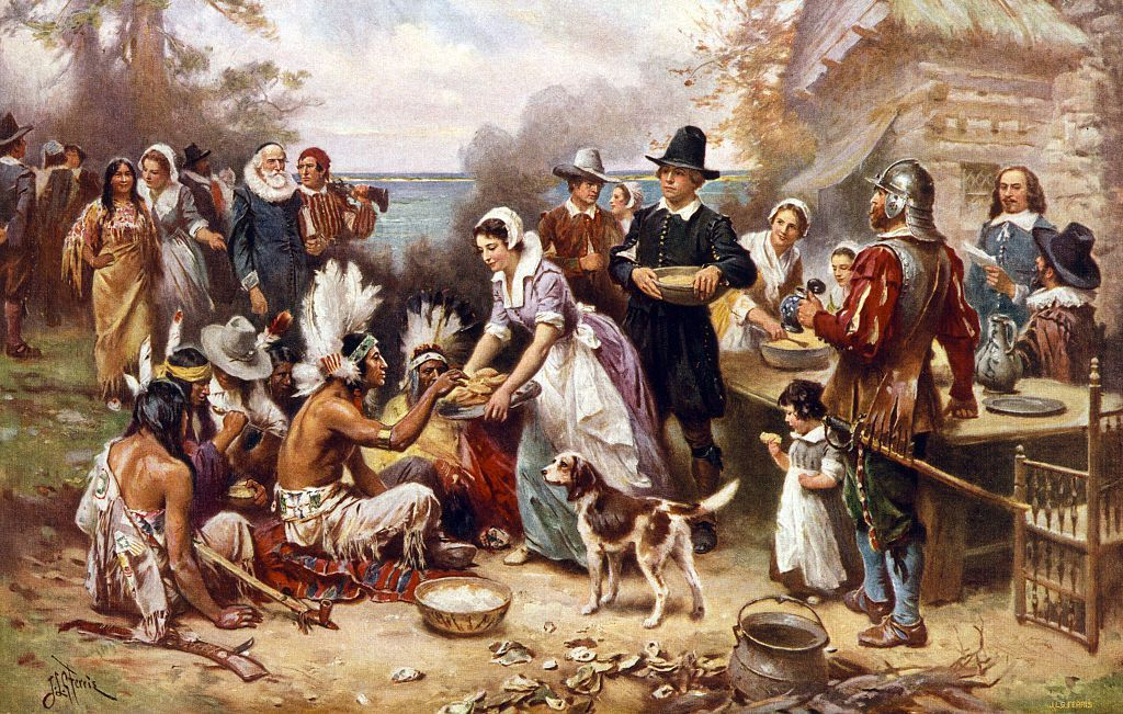 the first thanksgiving in 1621 after a painting by jean news photo