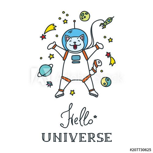 Hello Universe Doodle vector illustration of funny cat astronaut in space