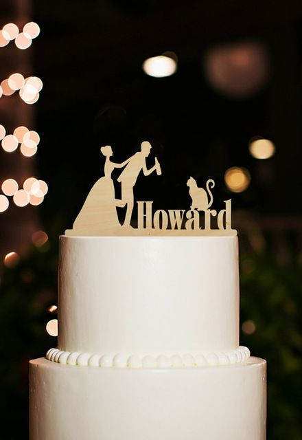 Funny Wedding Decoration Cake Topper Bride and Groom Cake Toppers with Last Name Cat Cake Topper Rustic Drinking Cake Design