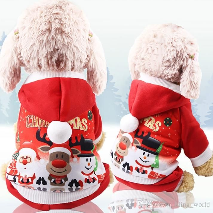 Christmas Dog Coats Puppy Hooded Sweatshirts Funny Small Dog Pullovers Cartoon Pet Dogs Outerwears Santa Elk Printed Pet Supplies YW1608 UK 2019 From
