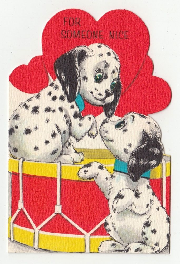 Vintage Greeting Card Valentine s Dalmation Dog Drum Die Cut Hallmark