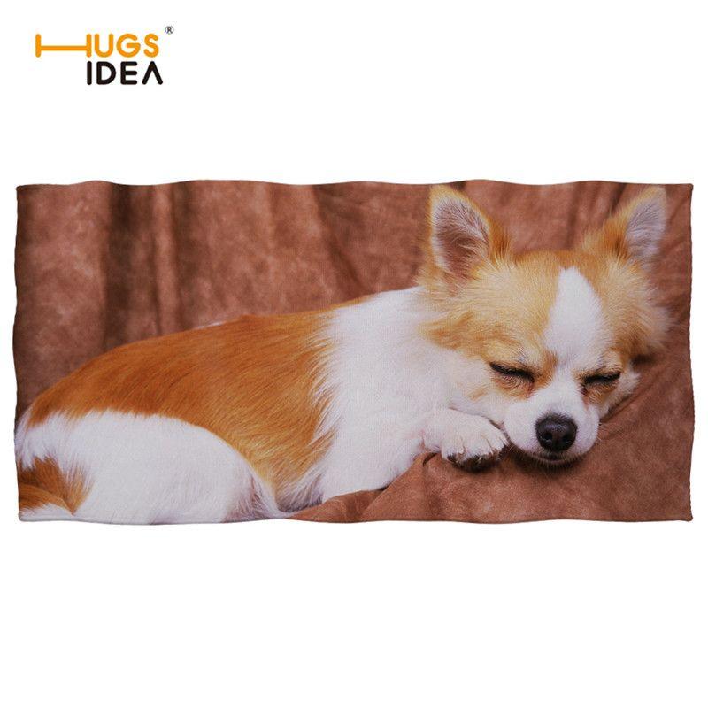 HUGSIDEA Cute Animal Chihuahua 3D Printed Beach Towels Thick Cotton Bath Face Hair Towel for