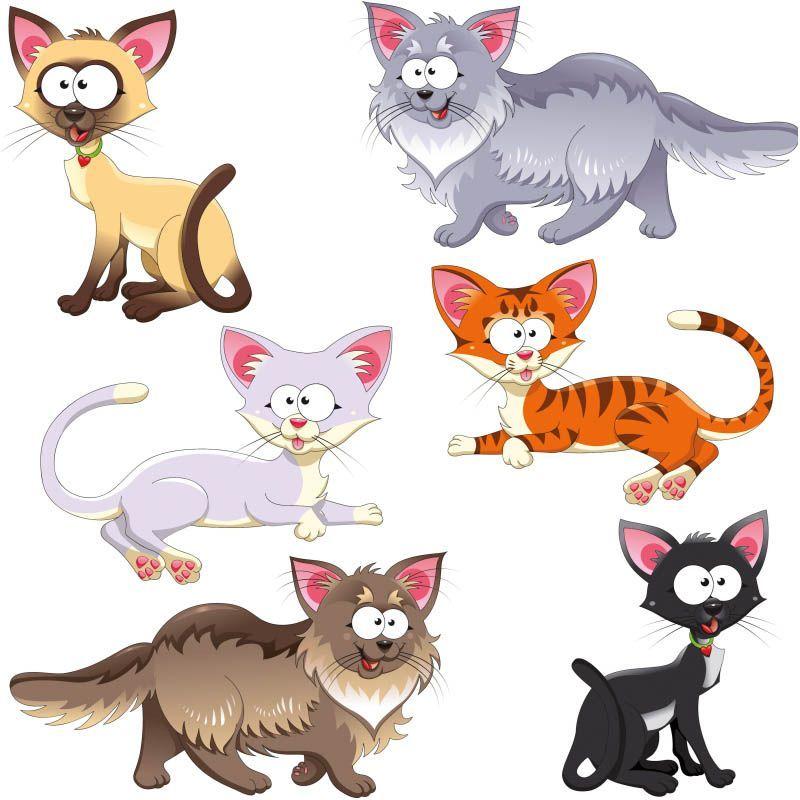 Funny cartoon cats vector