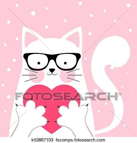 Clipart Funny cute cat love illustration Fotosearch Search Clip Art