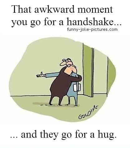 Funny Awkward Moment Picture Handshake Hug