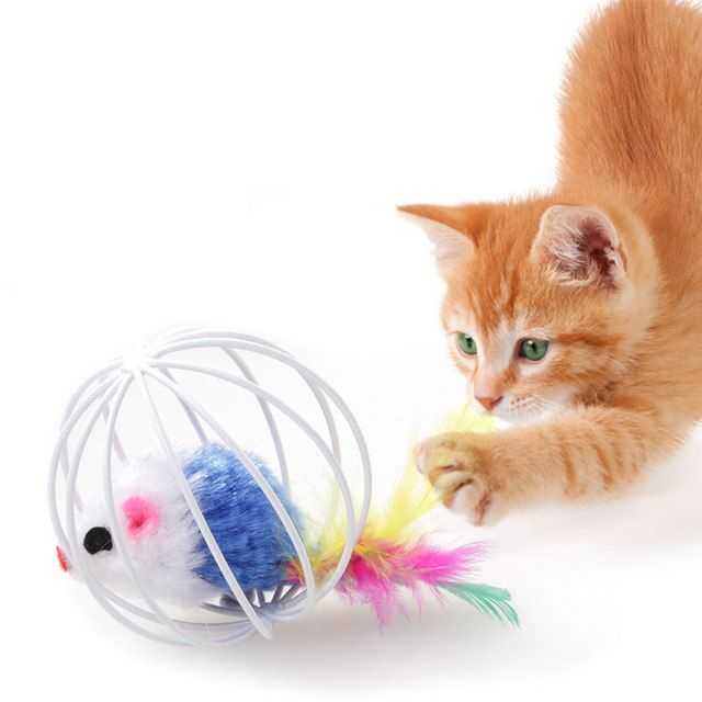Pet Toy Ball Cage Funny Cat Toys Prisoner with Feathered Rabbit Skin Cute Mouse Beautiful Shape Interesting Puzzle Interaction