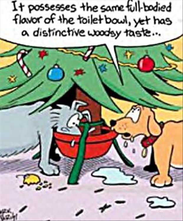 Funny Christmas dog cartoon