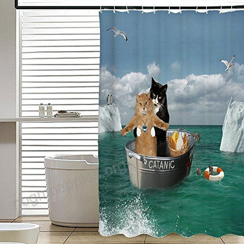 Gwein Funny Cat Bathroom Home Decor Shower Curtain Polyester Fabric Mildew Proof Waterproof Cloth Shower Room